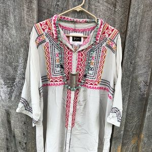 Johnny Was BIYA Silk ethnic Embroidered tunic XL